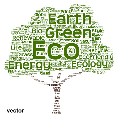 Conceptual green, ecology, recycle or energy tree word cloud background Vector