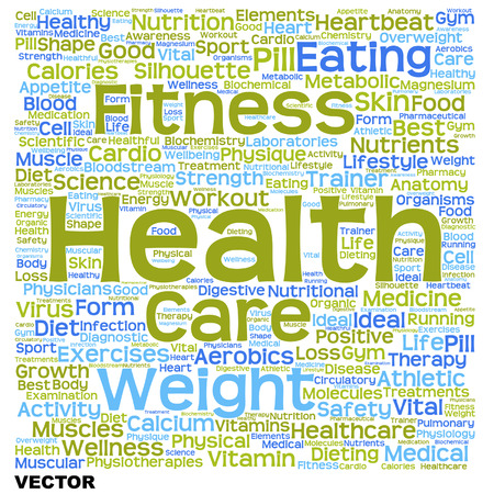 physique: Conceptual health, diet or nutrition word cloud isolated on background