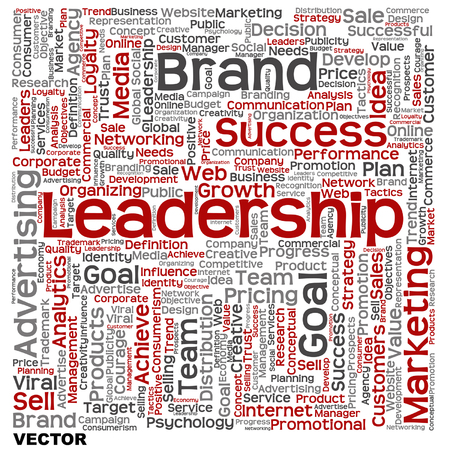 Conceptual business leadership or media word cloud isolated on background Vector