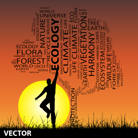 Conceptual ecology tree man at sunset  word cloud with sun and grass Vector