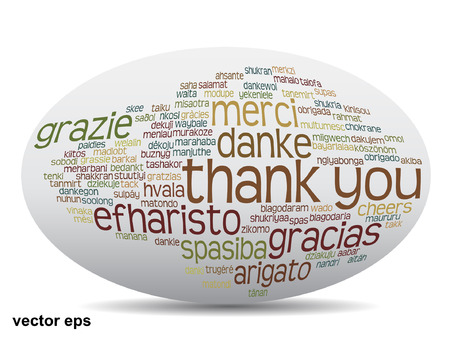 Conceptual thank you word cloud isolated for business or Thanksgiving Day Vector