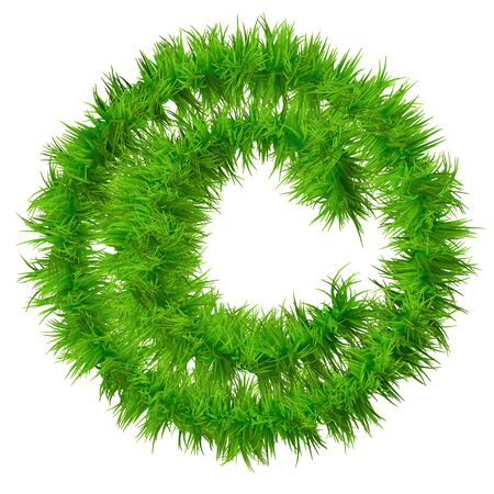 medio ambiente: Conceptual s�mbolo de fuente hierba verde 3D isoalted sobre fondo blanco
