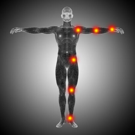 Conceptual wireframe human or man anatomy body with joint pain photo
