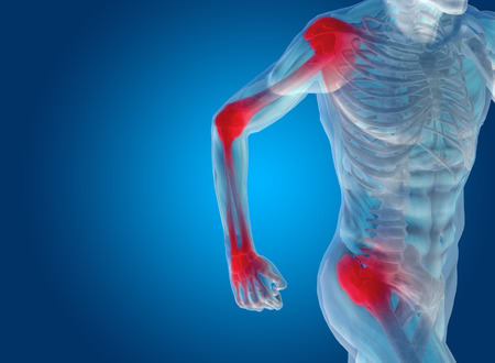 rheumatism: Conceptual human body anatomy articular pain on blue background