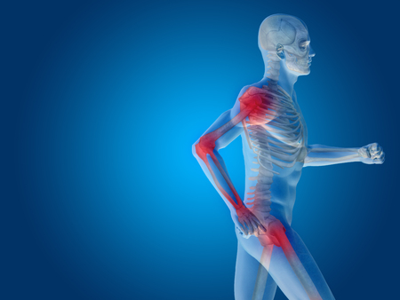 articular: Conceptual human body anatomy articular pain on blue background