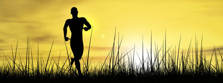 Conceptual human man running in grass at sunset background banner photo