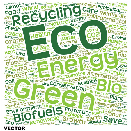 Conceptual green, eco, ecology or energy word cloud isolated on white background Vector