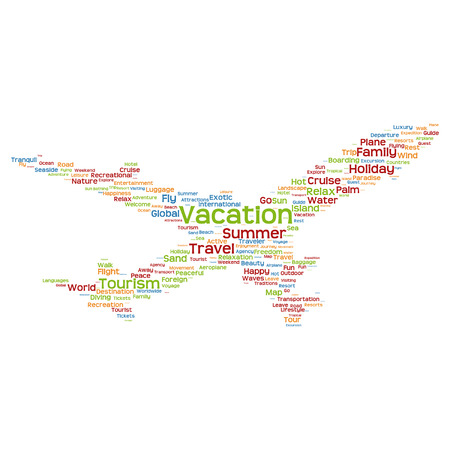 Conceptual travel or tourism plane silhouette word cloud isolated on white background Vector
