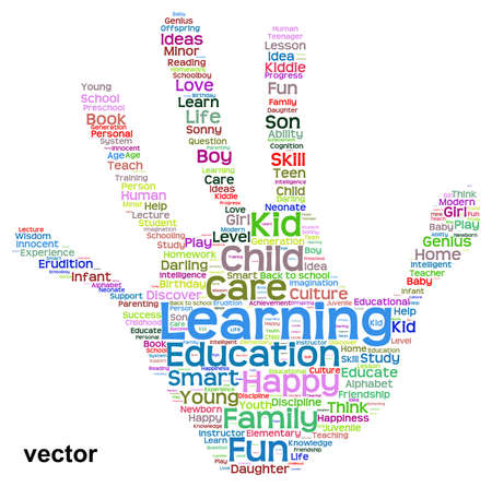 Conceptual child education abstract hand print word cloud isolated on white background Vector