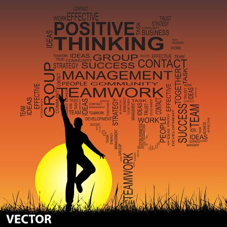 Conceptual business tree man at sunset  word cloud with sun and grass Vector