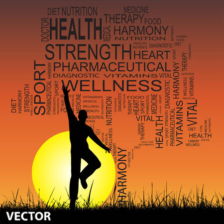 Conceptual health tree man at sunset  word cloud with sun and grass Vector