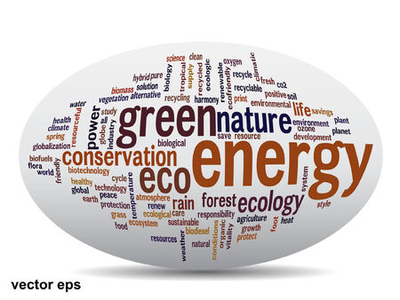 Conceptual green, ecology, recycle or energy word cloud concept Vector