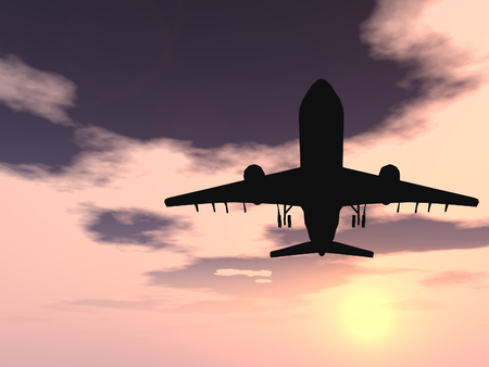 airplane take off: Conceptual black plane or aircraft silhouette flying over a sunset sky backgound