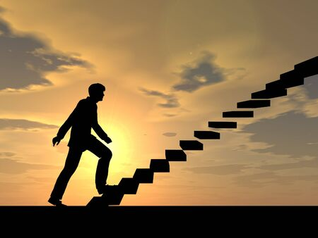 stairs: Conceptual business man climbing a stair over sky at sunset background