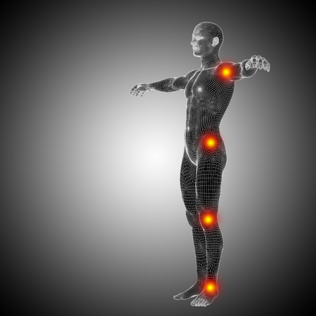Conceptual wireframe human or man anatomy body with joint pain Standard-Bild