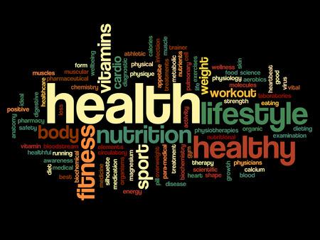 salud y deporte: Nube de la palabra salud conceptual en las manos aisladas en el fondo