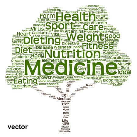 physique: Conceptual health diet or nutrition tree word cloud isolated on background