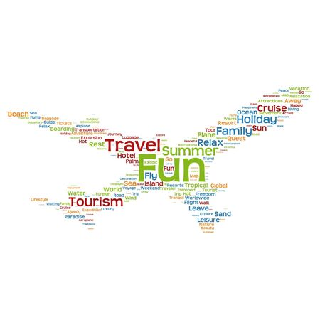 excursion: Conceptual travel or tourism plane silhouette word cloud isolated on white background