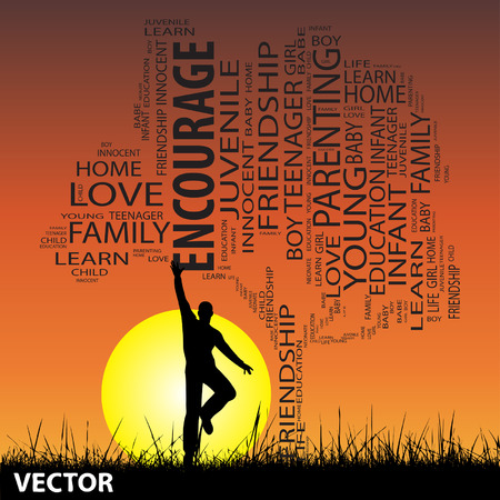 Conceptual education tree man at sunset  word cloud with sun and grass Vector