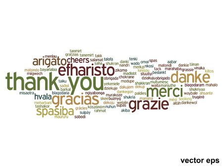 multilingual: Vector conceptual thank you word cloud isolated for business or Thanksgiving Day