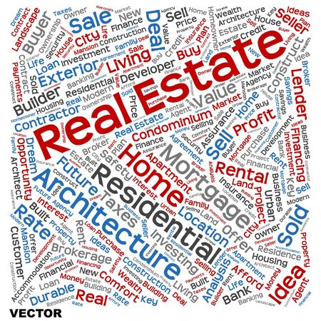 company ownership: Conceptual real estate or housing word cloud isolated on background