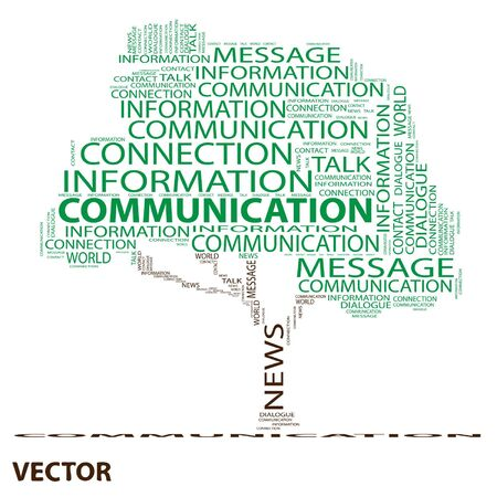 announcing: Conceptual communication tree word cloud background