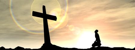 religion catolica: Religi�n conceptual cruz de color negro con un hombre rezando en la puesta del sol de la bandera