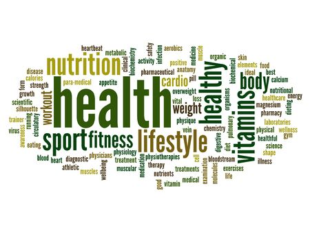 Conceptual health word cloud background