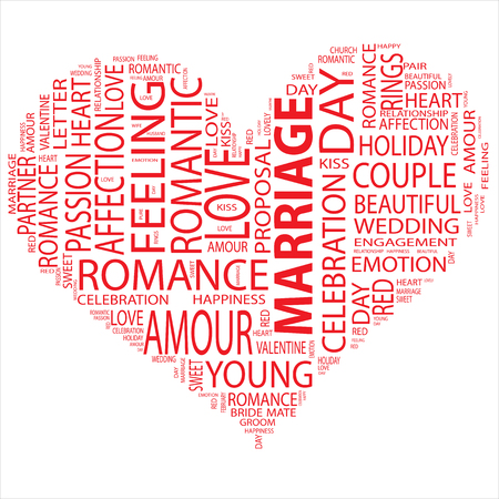 feel affection: Conceptual love or Valentine heart shape word cloud isoalted on white