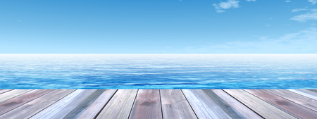 Concept or conceptual wood deck over blue sea and sky background banner