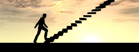 subir escaleras: Hombre de negocios conceptual subir una escalera en el cielo al atardecer Fondo de la bandera