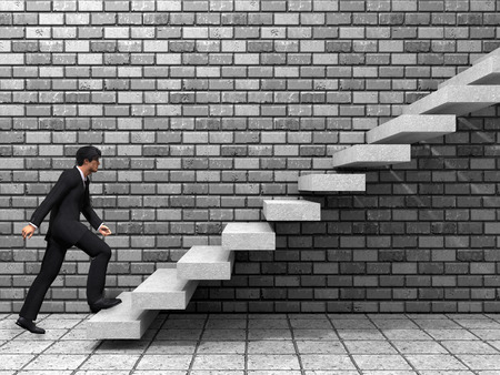 education goals: Conceptual business man climbing a stair over a wall and floor