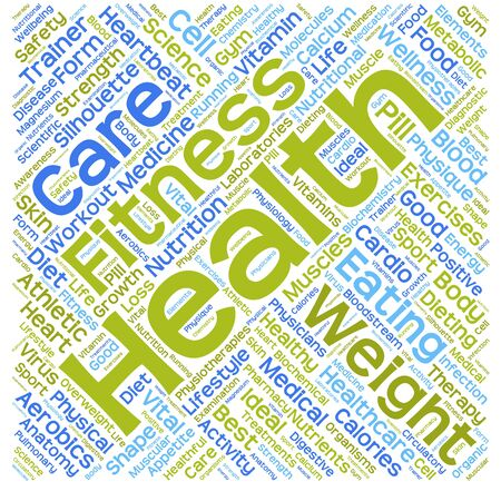 Conceptual health word cloud isolated on background Standard-Bild