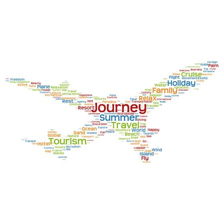 tagcloud: Concept or conceptual colorful plane silhouette travel tourism text word cloud tagcloud isolated on background