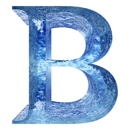 Blue ice or water B font isolated on white background