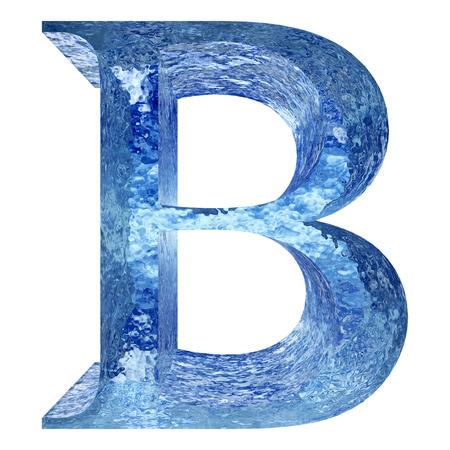 Fuente de hielo o agua B azul aislado en el fondo blanco Foto de archivo