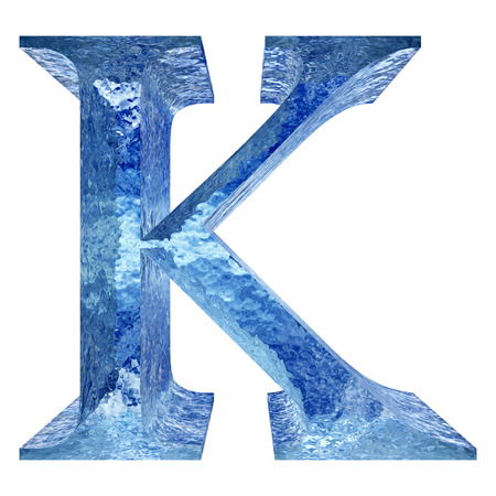 Blue ice or water K font isolated on white background