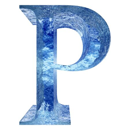 water liquid letter: Blue ice or water P font isolated on white background