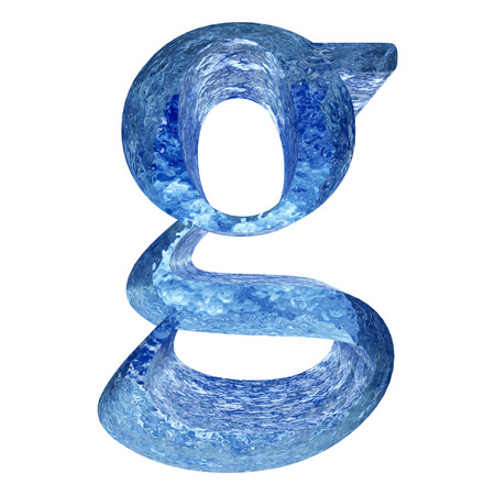 liquid g: Blue ice or water g font isolated on white background