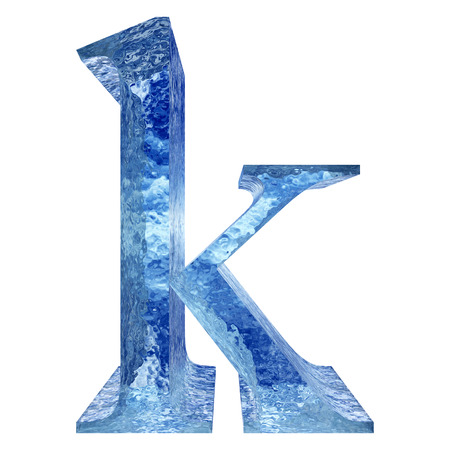 Blue ice or water k fonts isolated on white background photo