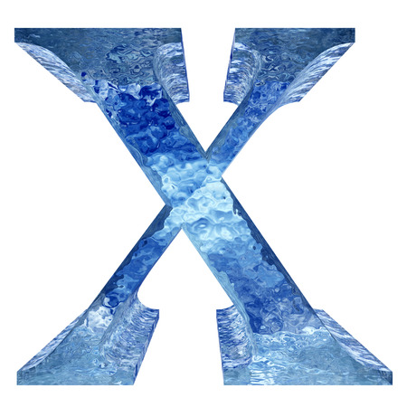 liquid x: Blue ice or water X font isolated on white background Stock Photo
