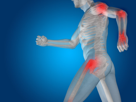 cramp: Conceptual human body anatomy articular pain on blue backgroun