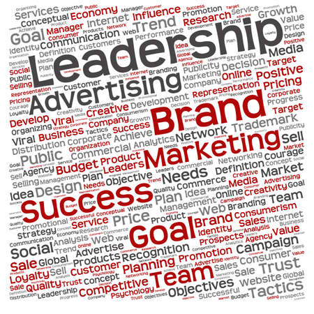 Conceptual business leadership or media word cloud isolated on background photo