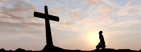 god's: Conceptual religion black cross with a man praying at sunset banner