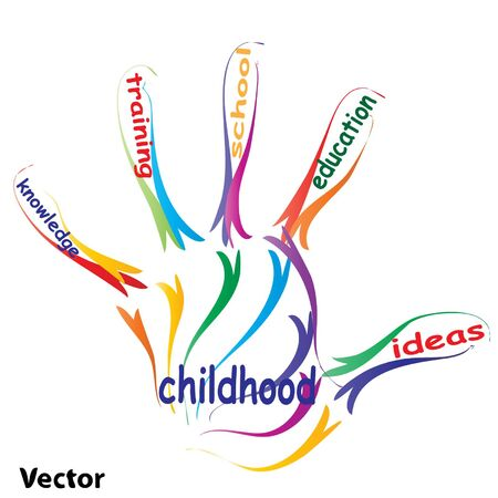 school life: Vector concept or conceptual education hand print word cloud, white background, metaphor to child, family, school, life, learn, knowledge, home, study, teach, educational, achievement, childhood, teen