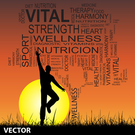 Conceptual health tree with man at sunset, word cloud with sun and grass