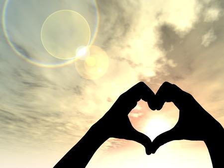 Zonsondergang silhouet achtergrond conceptuele hart vorm