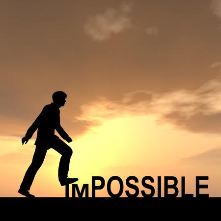 Konzeptionelle unmöglich Text-Konzept mit einem Mann bei Sonnenuntergang Standard-Bild - 38549515