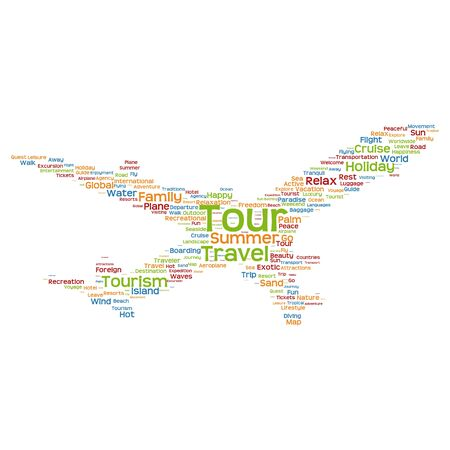 tagcloud: Concept or conceptual colorful plane silhouette travel tourism text word cloud tagcloud isolated on background, metaphor to vacation, family, summer, transport, fun, leisure, worldwide cruise Stock Photo