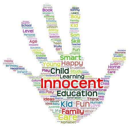 school life: Educación conceptual Concepto mano abstracta nube de palabras de impresión, la metáfora con el niño, la familia, la escuela, la vida, aprender, conocimiento, casa, estudio, enseñar, la educación, el logro, la infancia, huella de la mano adolescente